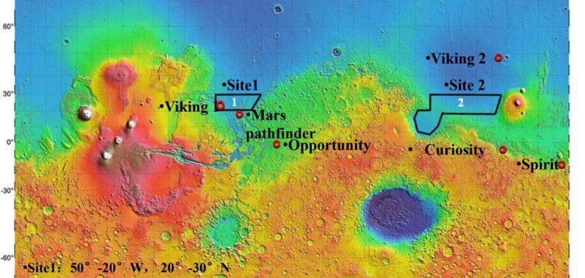 Места посадки марсианских миссий.