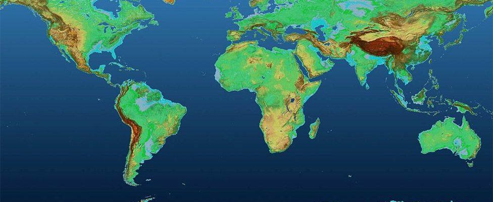 перепады высот на земных континентах