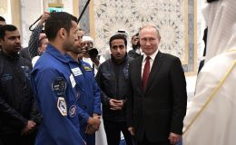 Владимир Путин и члены отряда астронавтов ОАЭ