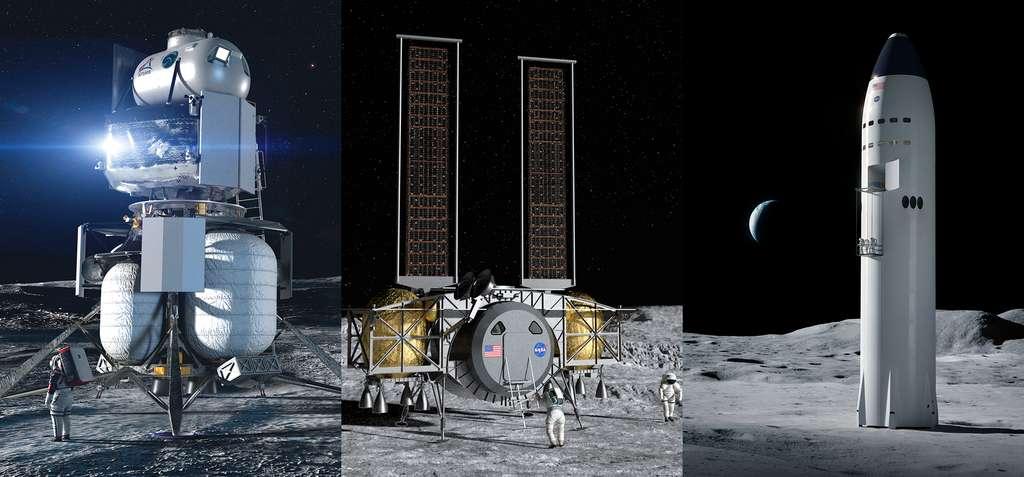 Концепты лунных посадочных модулей, представленных NASA.